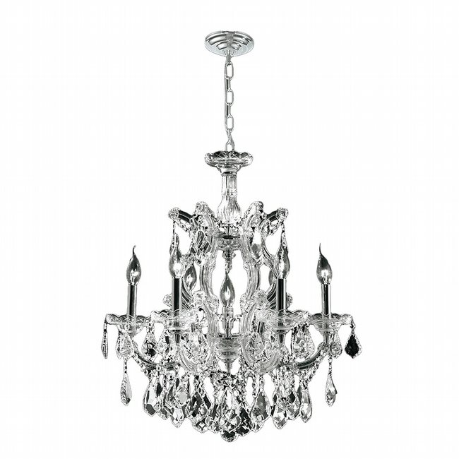 W83075C22 Maria Theresa 7 light Chrome Finish with Double-cut Crystal Chandelier