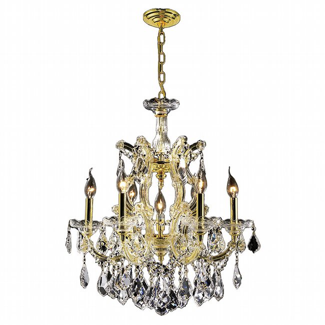 W83075G22 Maria Theresa 7 light Gold Finish with Double-cut Crystal Chandelier