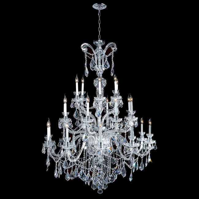 W83080C48 Maria Theresa 24 Light Chrome Finish with Clear Crystal Chandelier - Discontinued