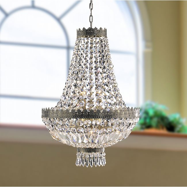 W83084B16 Metropolitan 6 Light Antique Bronze Finish and Clear Crystal Chandelier