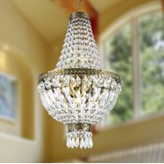 W83088B12 Metropolitan 5 Light Antique Bronze Finish and Clear Crystal Mini Chandelier