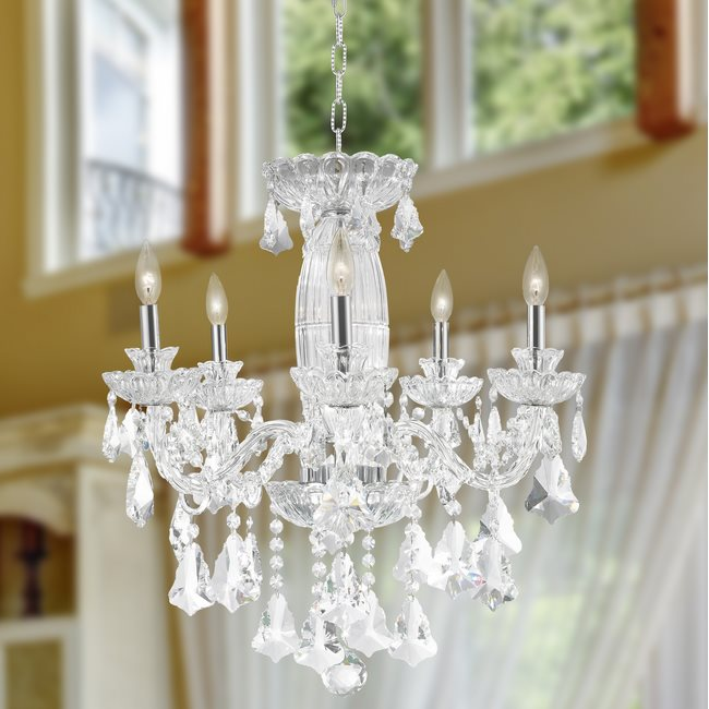W83089C25 Olde World 5 light Chrome Finish with Double-cut Clear Crystal Chandelier - Discontinued