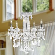 W83089C25 Olde World 5 light Chrome Finish with Double-cut Clear Crystal Chandelier