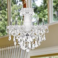 W83090C25 Olde World 6 light Chrome Finish with Double-cut Clear Crystal Chandelier