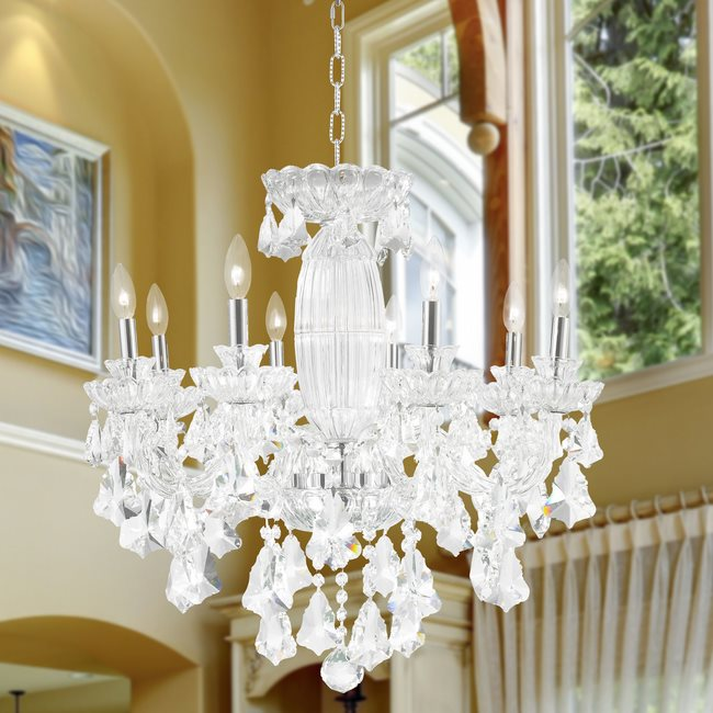 W83091C25 Olde World 8 light Chrome Finish with Double-cut Clear Crystal Chandelier - Discontinued