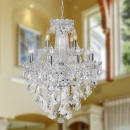 W83092C31 Olde World 12 light Chrome Finish with Double-cut Clear Crystal Chandelier