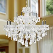 W83093C39 Olde World 18 light Chrome Finish with Double-cut Clear Crystal Chandelier