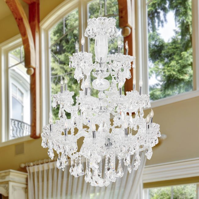 W83094C42 Olde World 23 light Chrome Finish with Double-cut Clear Crystal Chandelier