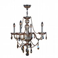 W83095C23-AM Provence 4 Light Chrome Finish Amber Crystal Chandelier
