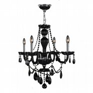 W83095C23-BL Provence 4 Light Chrome Finish Black Crystal Chandelier - Discontinued