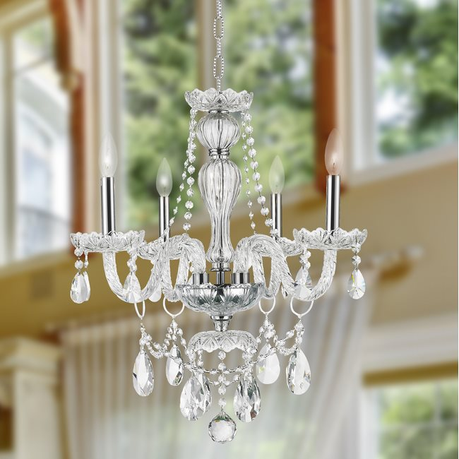 W83095C23-CL Provence 4 light Chrome Finish with Clear Crystal Chandelier