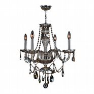 W83095C23-GT Provence 4 light Chrome Finish with Golden Teak Crystal Chandelier