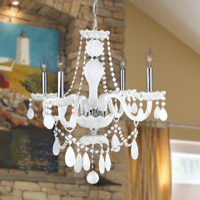 W83095C23-WH Provence 4 Light Chrome Finish and White Crystal Chandelier