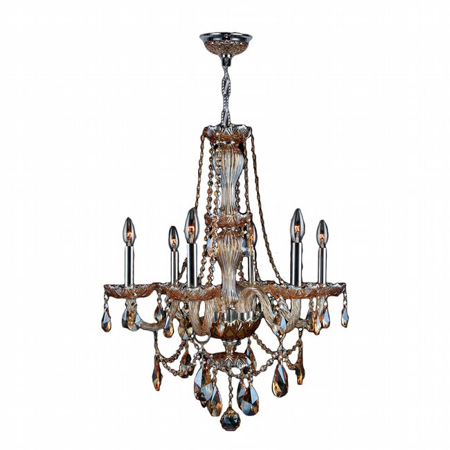 W83096C23-AM Provence 6 Light Chrome Finish and Amber Crystal Chandelier - Discontinued