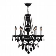 W83096C23-BL Provence 6 Light Chrome Finish and Black Crystal Chandelier