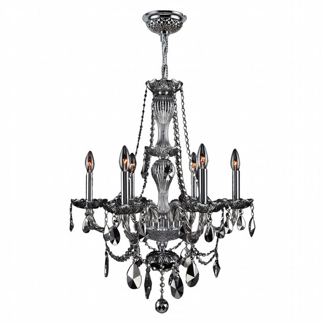 W83096C23-CH Provence 6 light Chrome Finish with Chrome Crystal Chandelier
