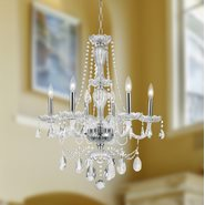 W83096C23-CL Provence 6 light Chrome Finish with Clear Crystal Chandelier