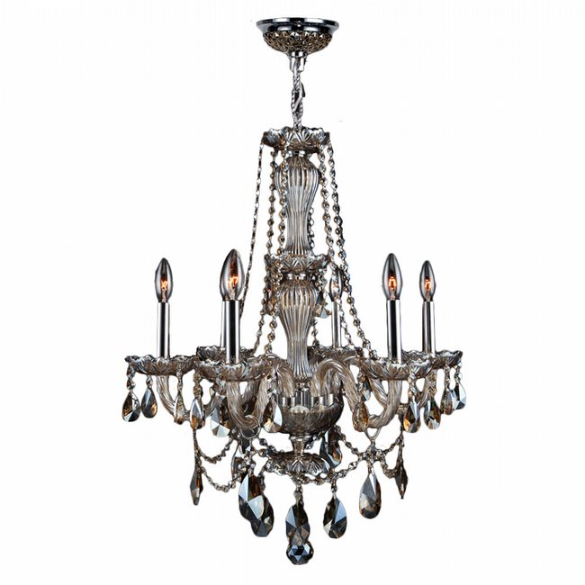 W83096C23-GT Provence 6 Light Chrome Finish and Golden Teak Crystal Chandelier