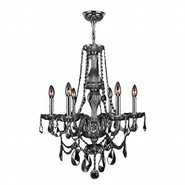 W83096C23-SM Provence 6 Light Chrome Finish and Smoke Crystal Chandelier