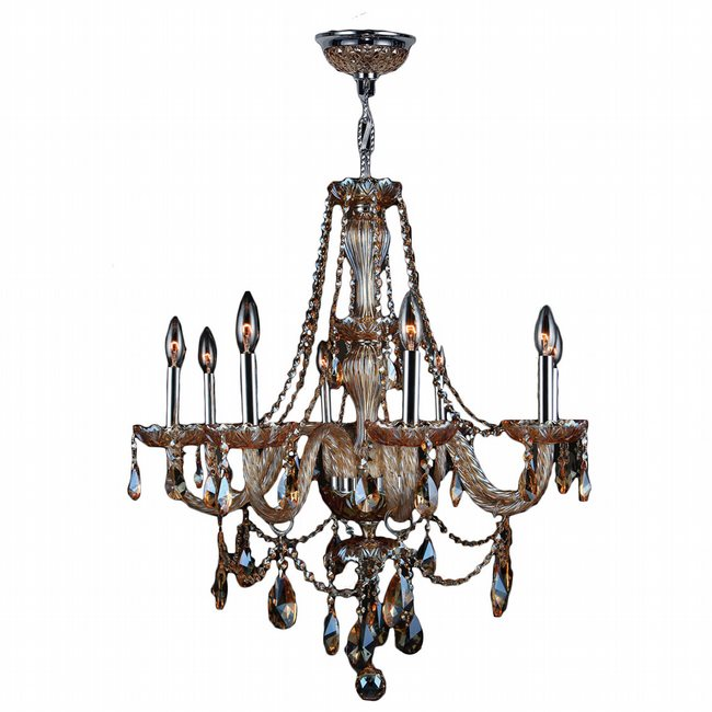 W83097C28-AM Provence 8 light Chrome Finish with Amber Crystal Chandelier - Discontinued