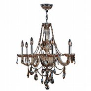 W83097C28-AM Provence 8 light Chrome Finish with Amber Crystal Chandelier