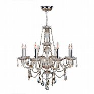 W83097C28-GT Provence 8 Light Chrome Finish and Golden Teak Crystal Chandelier