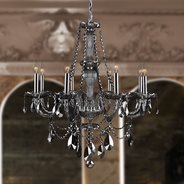 W83097C28-SM Provence 8 Light Chrome Finish and Smoke Crystal Chandelier