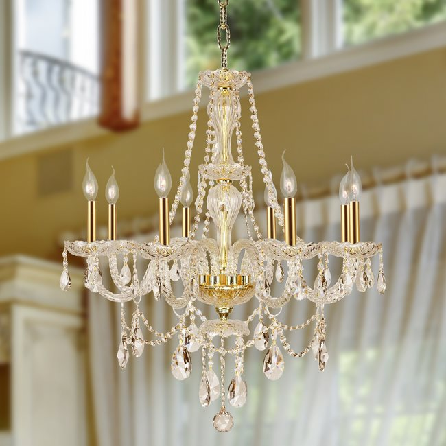 W83097G28-GT Provence 8 Light Gold Finish with Golden Teak Crystal Chandelier - Discontinued