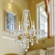 W83097G28 Provence 8 Light Gold Finish and Clear Crystal Chandelier