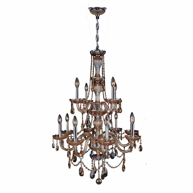 W83098C28-AM Provence 12 Light Chrome Finish and Amber Crystal Chandelier Two 2 Tier - Discontinued