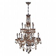 W83098C28-AM Provence 12 Light Chrome Finish and Amber Crystal Chandelier Two 2 Tier