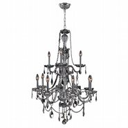 W83098C28-CH Provence 12 Light Chrome Finish and Chrome Crystal Chandelier Two 2 Tier