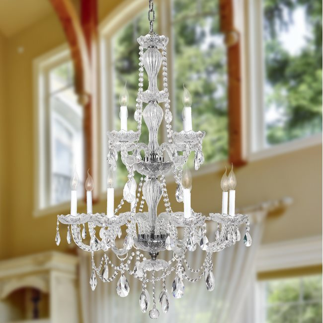 W83098C28-CL Provence 12 Light Chrome Finish and Clear Crystal Chandelier Two 2 Tier