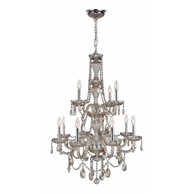 W83098C28-GT Provence 12 Light Chrome Finish and Golden Teak Crystal Chandelier Two 2 Tier