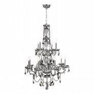 Provence Collection 12 Light Chrome Finish and Smoke Crystal Chandelier Two 2 Tier