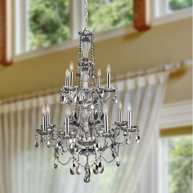 W83098C28-SM Provence 12 Light Chrome Finish and Smoke Crystal Chandelier Two 2 Tier