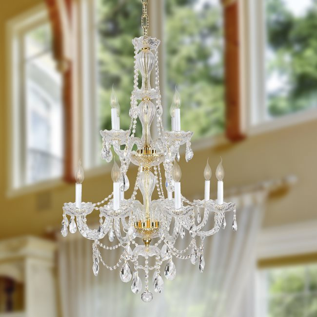 W83098G28 Provence 12 Light Gold Finish and Clear Crystal Chandelier Two 2 Tier