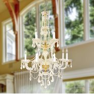 W83098G28-GT Provence 12 Light Gold Finish and Golden Teak Crystal Chandelier Two 2 Tier - Discontinued