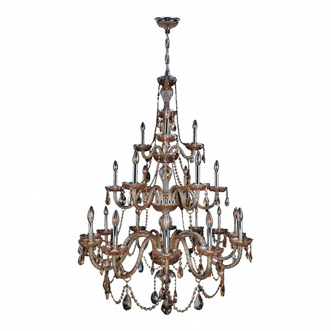 W83099C38-AM Provence 21 Light Chrome Finish and Amber Crystal Chandelier Three 3 Tier