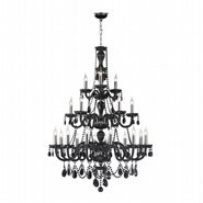 W83099C38-BL Provence 21 Light Chrome Finish with Black Crystal Chandelier
