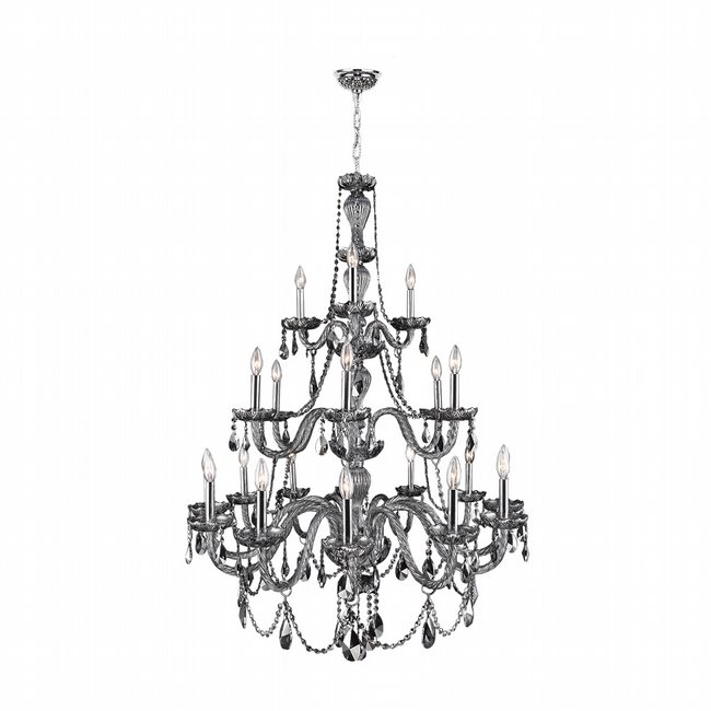 W83099C38-CH Provence 21 Light Chrome Finish and Chrome Crystal Chandelier Three 3 Tier