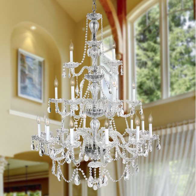 W83099C38-CL Provence 21 Light Chrome Finish and Clear Crystal Chandelier Three 3 Tier