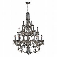 W83099C38-GT Provence 21 Light Chrome Finish and Golden Teak Crystal Chandelier Three 3 Tier