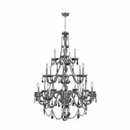 W83099C38-SM Provence 21 Light Chrome Finish and Smoke Crystal Chandelier Three 3 Tier