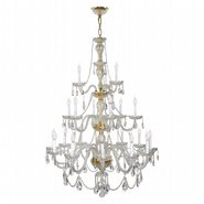Provence 21 light Gold Finish and Clear Crystal Chandelier Three 3 Tier