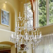 W83099G38 Provence 21 light Gold Finish and Clear Crystal Chandelier Three 3 Tier
