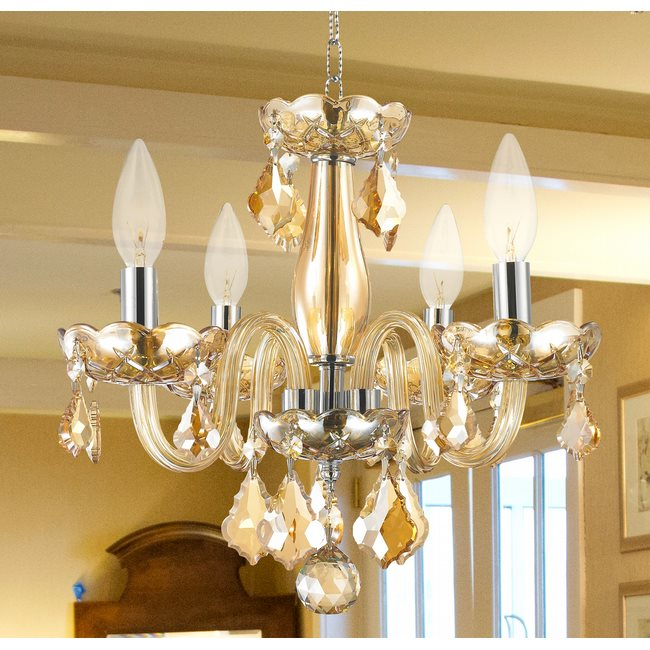 AM Clarion 4 Light Chrome Finish and Amber Crystal Chandelier