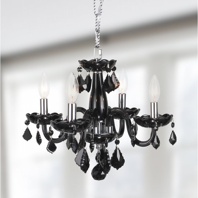 W83100C16-BL Clarion 4 Light Chrome Finish and Black Crystal Chandelier