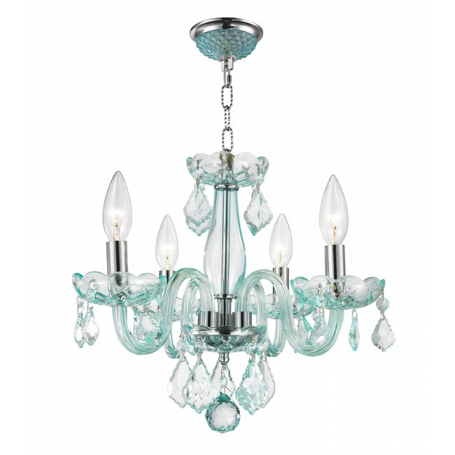 W83100c16 cb clarion 4 light chrome finish coral blue crystal chandelier aloadofball Image collections