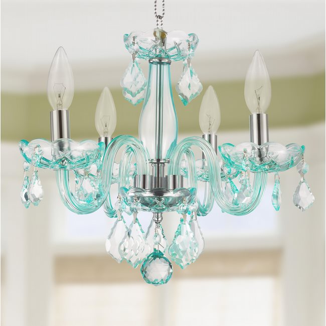 Clarion Collection 4 Light Chrome Finish and Pink Crystal Chandelier – 4-light Chrome Crystal Chandelier